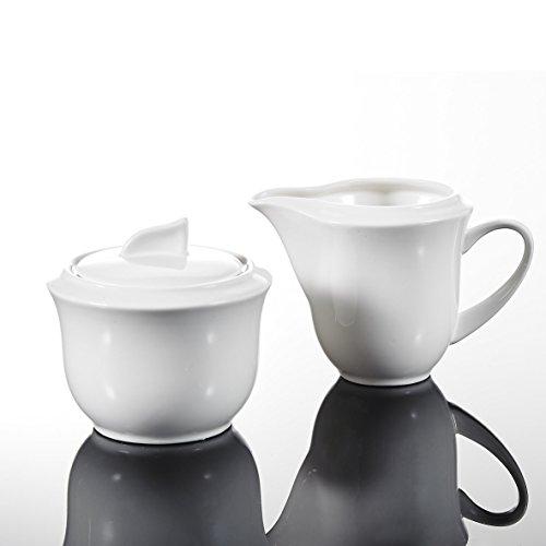 MALACASA, Serie Carina, 3-teilig Cremeweiß Porzellan Milch und Zucker Set mit Deckel, Milchkännchen Zuckerdose Milch- & Zuckerbehälter Küchenhelfer
