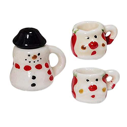 sharprepublic Juego de té Miniatura de casa de muñecas de 3 Piezas, Juego de té de Mini Porcelana con Dibujos Animados, Suministros para casa de muñecas