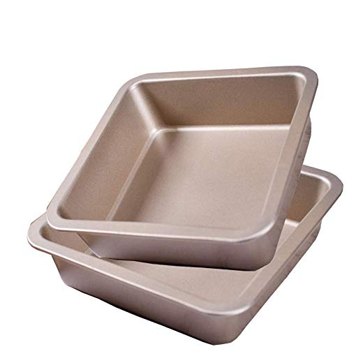 POKALI 2Pcs 8#039#039x8#039#039x2#039#039 Carbon Steel Square Nonstick baking cake pan Square Bread and Meat Bakeware Deep Bakeware for Lasagna Bread Brownie Mold Square Bakeware Roasting Tray gold