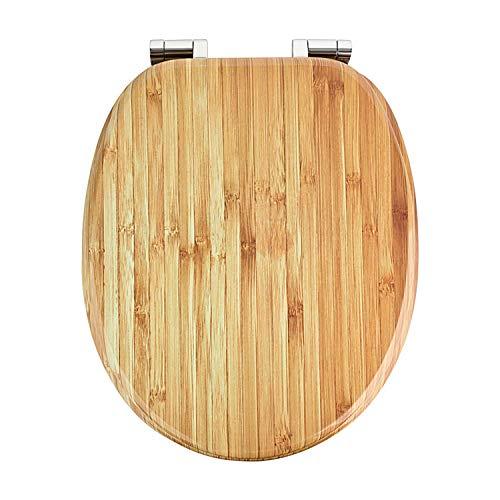 Premium MDF Toilettensitz WC-Sitz mit Absenkautomatik und verzinkten Scharnieren, Holz (Bambus)