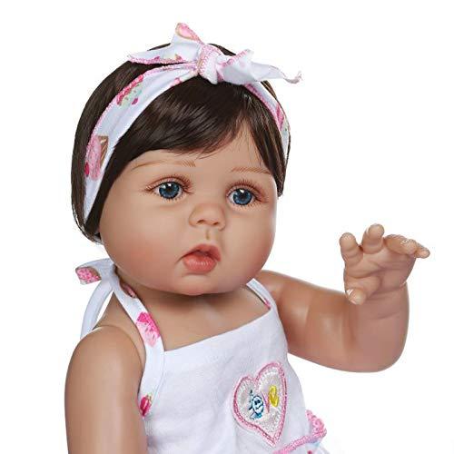 HUANLIAN Reborn Puppen Mädchen Mit Blauen Augen 19 Zoll 48 cm Sieht Echt Baby Puppe Silikon Ganzkörper Neugeborenen Weiche Kleinkind Spielzeug Mädchen Geschenk