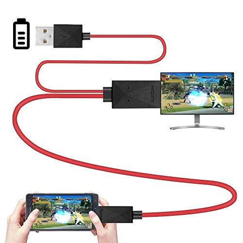 SNOWINSPRING 6.5 Feet MHL Micro-USB to HDMI Adapter Converter Cable 1080P HDTV for Android Devices Samsung Galaxy S3 S4 S5 Note 3 Note 2 Note 8 Note Pro Galaxy Tab 3 (11 Pin, Red)