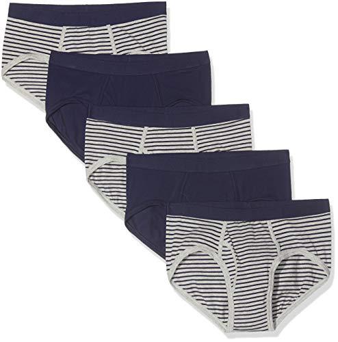 Marca Amazon - find. Slip para Hombre Y-Front, Pack de 5, Multicolor (Navy & Grey Stripes/Navy), S, Label: S