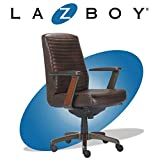 La-Z-Boy Emerson Modern Executive Office Chair with Rich Wood Inlay, Ergonomic High-Back Lumbar Support, Bonded Leather, Brown