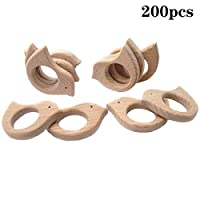 Wendysun純粋な天然木の歯のおもちゃの 50pcs 鳥の木の歯モンテッソーリのおもちゃの木の歯リング有機ベビー歯ロープ手作りペンダントセットシャワーギフト (50pcs)