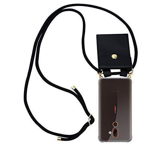Cadorabo Handy Kette für Nokia 7 Plus in SCHWARZ - Silikon Necklace Umhänge Hülle mit Gold Ringen, Kordel Band Schnur & abnehmbarem Etui – Schutzhülle