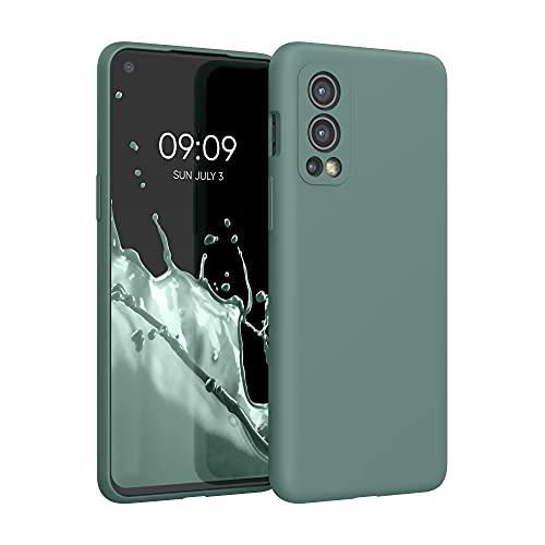 kwmobile Hülle kompatibel mit OnePlus Nord 2 5G - Hülle Silikon gummiert - Handyhülle - Handy Hülle in Tannengrün