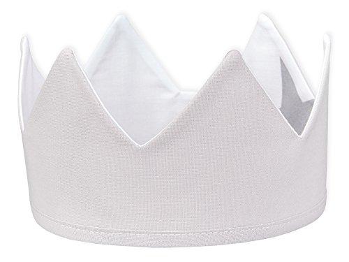 KraftKids Stoffkrone Unigrau, stylische Geburtstags-Krone für Kinder mit Klettverschluss, beidseitig mit Muster verziert