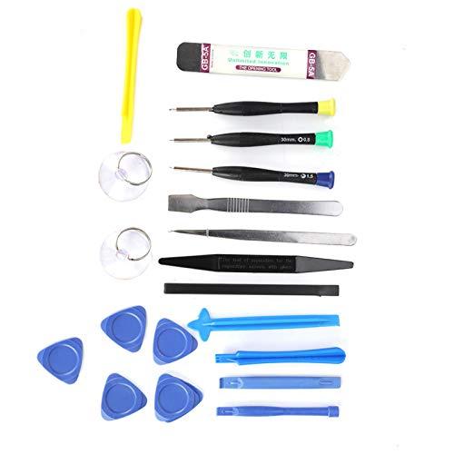 Kit de reparación de teléfonos 20 en 1 Kit de herramientas de reparación de teléfonos móviles Herramientas de reparación para iPhone con asas antideslizantes, destornilladores