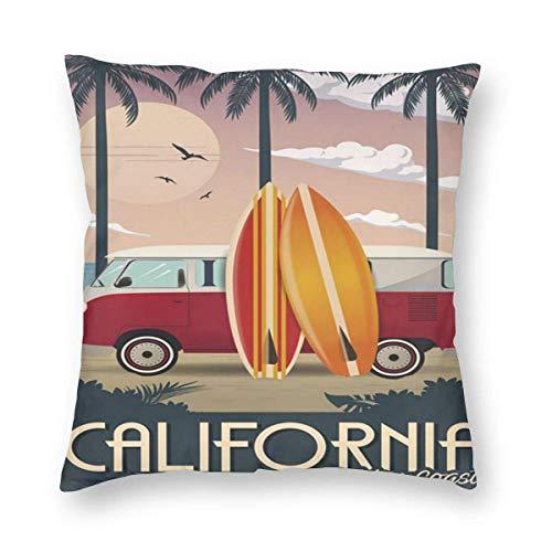 Sweet grape Funda de almohada cuadrada California Vintage Travel Golden Coast Fundas de cojines con cremallera para sofá de 18 pulgadas x 18 pulgadas
