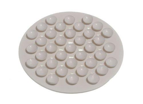 Onestopdiy - Portasapone in gomma con ventose, rotondo, pacco da 6, colore bianco