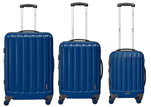 Packenger Kofferset - Velvet - 3-teilig (M, L & XL), Dunkelblau, 4 Rollen, Koffer mit TSA- Schloss und Erweiterungsfach, Hartschalenkoffer (ABS)
