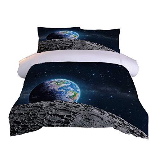 XOYKX 3D Printed Duvet Cover Set Double Size - Space Universe Earth 3 Pcs Bedding Set With Zipper Closure 200X200Cm + 2 Pillowcases 50X75Cm Ultra Soft Hypoallergenic Microfiber Quilt Cover Sets