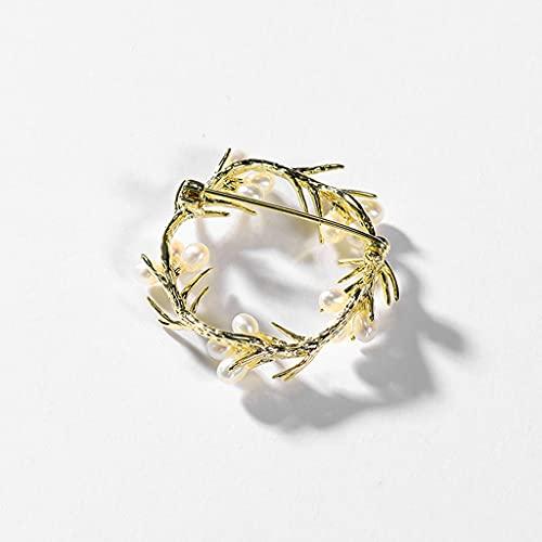 Aiglen Broche de Guirnalda Broches de Mujer Broches Retro Alfileres de Abrigo de Traje Sen-Line Cientos de Accesorios a Juego (Color : Gold)
