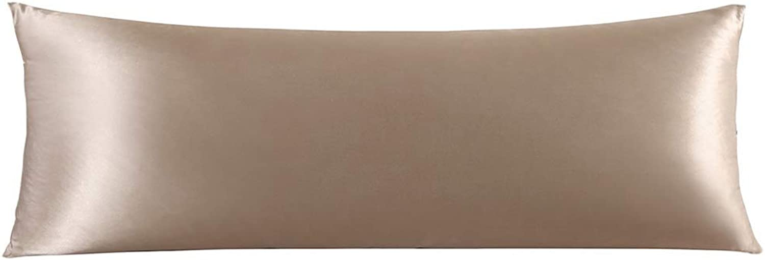 ZIMASILK 100% Mulberry Silk Pillowcase for Hair and Skin,with Hidden Zipper,Both Side 19 Momme Silk, 1pc (Body 20 x54 , Taupe)