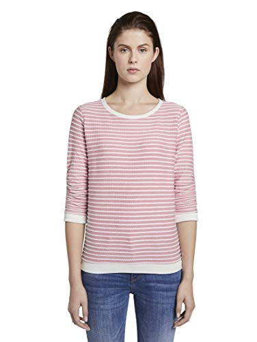 TOM TAILOR DENIM Strick & Sweatshirts Gestreiftes Jacquard Sweatshirt Rose Structure Stripe, M