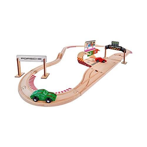 Eichhorn 109475850 - Schienenbahn Set Porsche Racing, 31-tlg., inkl. Zubehör, Streckenlänge: 350cm, FSC 100% Zertifiziertes Buchenholz