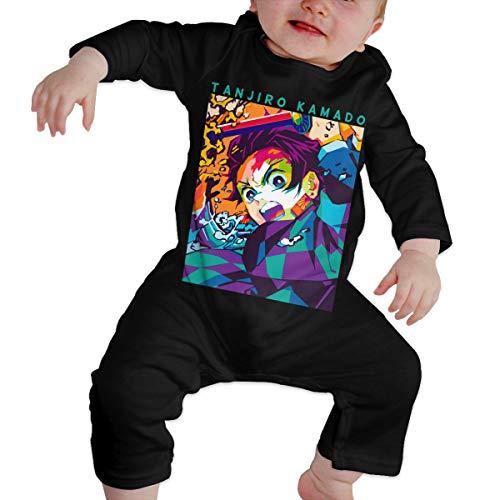 FXNOW Unisex Demon Slayer Kimetsu No Yaiba Tanjirou Baby Long Sleeve Bodysuit Black