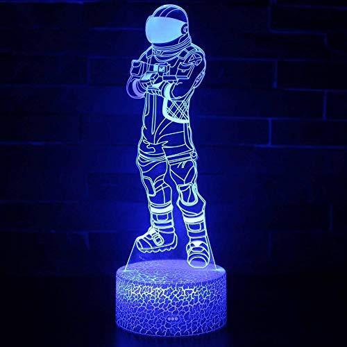 Lámpara de ilusión LED 3D Personajes Anime Lámpara de decoración de cambio de color de 16, Touch USB Carga Escritorio Iluminación con control remoto, Regalos Juguetes para niños y niñas