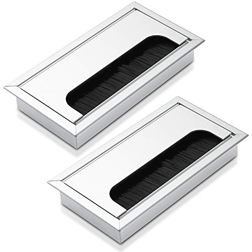 2 Stück Kabeldurchführung Kabeldurchlass, Bolatus Aluminium Kabel Loch Eckig 160 x 80 mm Schreibtisch Kabeldurchführung für Verwaltung Office Computer Desk Drähte - Silber