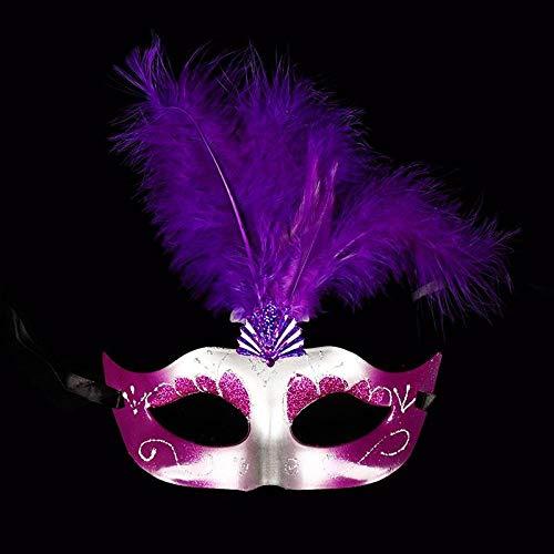 Mascara De Halloween Máscara De Plumas Creativa Máscara De Disfraces De Halloween Para Mujeres Niñas Elegante Lentejuelas Fiesta De Navidad Máscaras Disfraces Masque Carnaval @ Púrpura