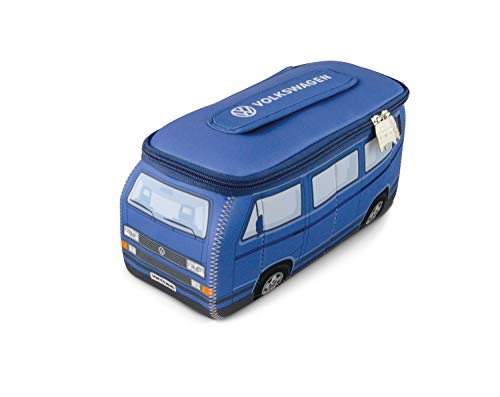 BRISA VW Collection - Volkswagen T3 Bulli Bus 3D Universal-Schmink-Kosmetik-Kultur-Reise-Hausrats-Tasche-Mäppchen-Beutel (Neopren/Blau)