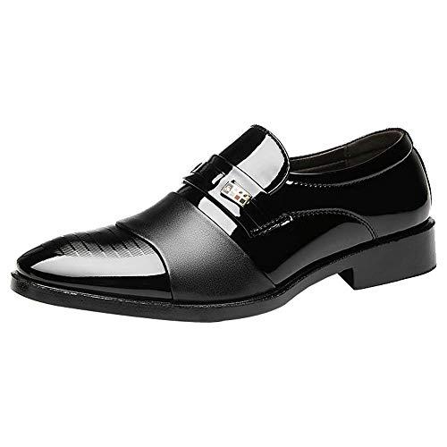 Hochzeitsschuhe für Herren/Skxinn Herrenschuhe Anzugschuhe Business Lackleder Hochzeit Oxford Smoking Schuhe Klassischer Business-Halbschuh Ausverkauf(Schwarz,41 EU)