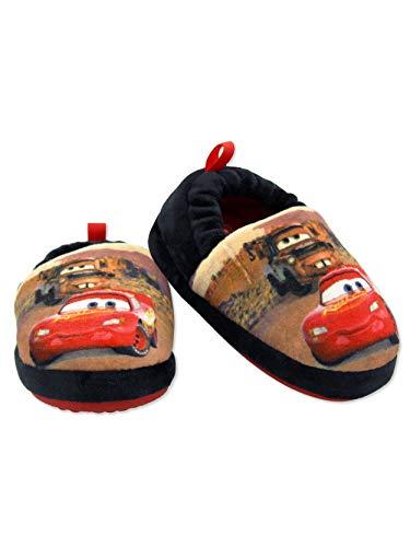 Disney Cars Lightning McQueen Tow Mater Toddler Boys Plush Aline Slippers (7-8 M US Toddler, Black/Red)