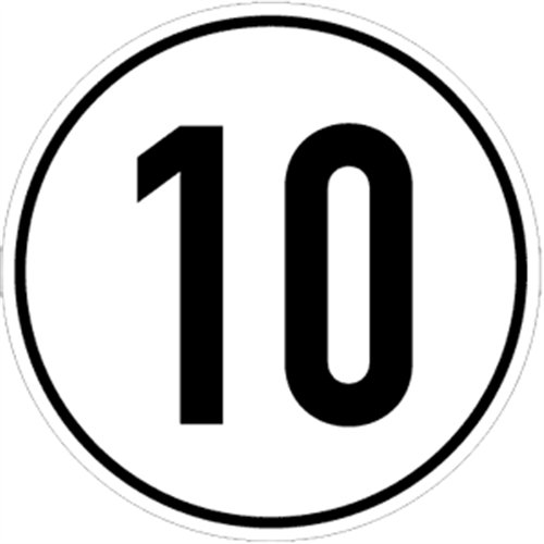 Aufkleber Geschwindigkeitsschild 10 km/h Folie selbstklebend 20cm Ø (Kraftfahrzeugschild, Kilometerschild, Höchstgeschwindigkeit) praxisbewährt, wetterfest