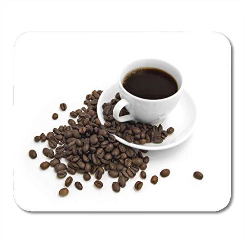Muispads close-up zwarte kop koffie op witte bruine bonen verslaving muismat voor notebooks, Desktop computers matten kantoorbenodigdheden