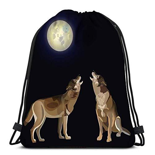 BXBX Kordelzug Rucksack Taschen Zwei Wölfe, die am Mond heulen Dark Sport Storage Polyester Bag for Gym