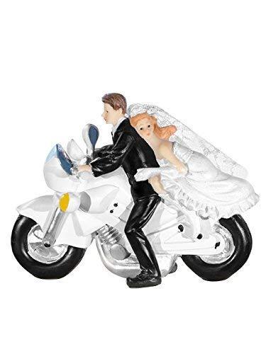 PartyDeco Decoración de novios en moto, acrílico, blanco y negro