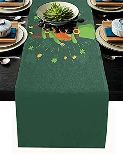 Camino de mesa de arpillera para San Valentín,fiesta de primavera,divertido duende con monedas Shamrock Día de San Patricio,camino de mesa para fiestas,cocina,decoración de mesa diaria,33x177cm