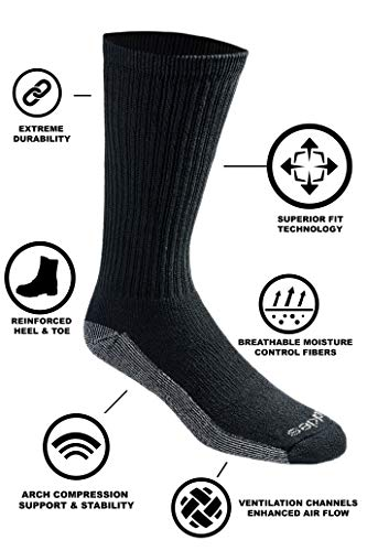 Dickies Men's Multi-Pack Dri-Tech Moisture Control Crew Socks, Black 6 Pack 6 Pack, Sock Size:...