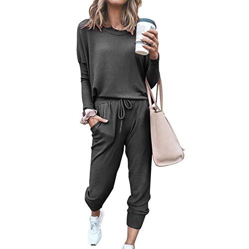SotRong - Conjunto de chándal de manga larga para mujer, 2 piezas, talla grande, cuello redondo, sudadera y pantalón holgado para correr