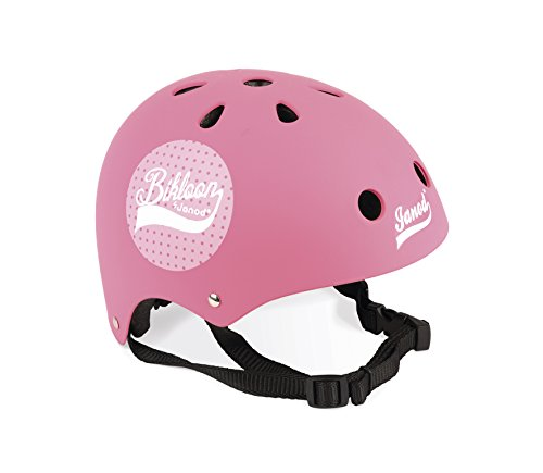 """Janod J03272 """"Bikloon"""" Helm für Fahrrad und Laufrad, für Kinder, Rosafarben mit Punkten, Größe S, verstellbar, 47 - 54 cm, 11 Belüftungslöcher, für Kinder ab 3 Jahren"""