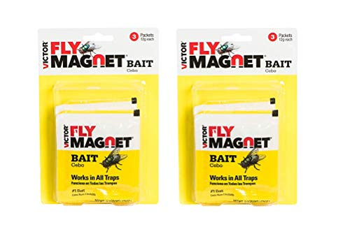 2-Pack Victor Fly Magnet Replacement Bait (3-Packets of 12g Bait per Pack=6 baits); Patented Non-Poisonous Bait for Outdoor use; Children, Pets&Environment Safe. Works w/ Victor Fly Magnet Trap!