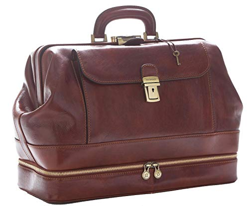 D&D - Doctor's Bag Borsa Medico stile classico con vano Portastrumenti - Made in Italy (Marrone)