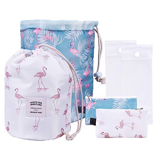 OZUAR 2 Pack Drawstring Cosmetic Bag Women Girl Waterproof Travel Dresser Pouch Large Capacity Beautician Organizer Portable Toiletry Bag Quick Pack Travel Bag Blue + White Flamingo Pattern 25x25x5cm
