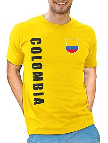 Kolumbien Colombia T-Shirt Wunschname Nummer WM-2022 Trikot Gelb M