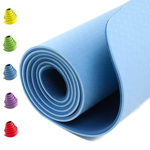 BRAIS Tappetino Fitness Yoga Palestra Pilates Ginnastica Mat Professionale Fit Lavabile 183cmx61cmx6mm TPE 100% Ecologico Antiscivolo New Model Uomo Donna Bambini Kit Cintura Cinghia da Trasporto