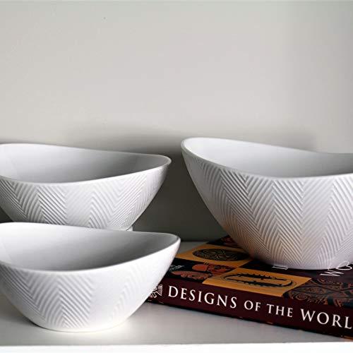 Euro Ceramica Highlands Chip Resistant Nesting Bowl Set, Semi Oval Shape Modern Chevron Texture, White for Buddha Bowls Rice Ramen Noodle Soup