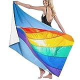 Bath Towel Microfiber Super Soft Bath Towel Rainbow Flag On Gay Beach Miami High Water Absorption, Multi-Purpose 80cm*130cm For In Bathrooms, Hotels, Gyms and SP