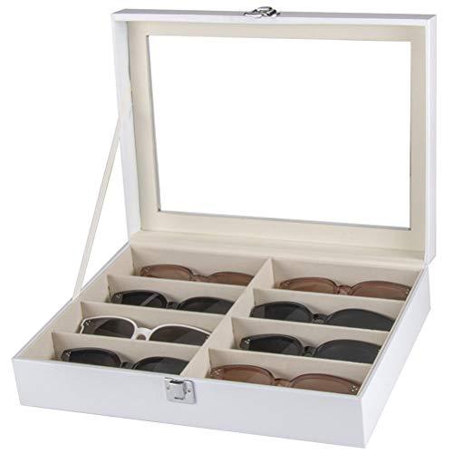 Brillenbox Brillenaufbewahrung Brillenpräsentation Weiß PU-Leder 8 Slots Brillen Sunglass-Aufbewahrungsbehälter-Halter ein Top-Gläser Vitrine Abschließbare Brillen Organizer Collector Haushalt Dekorat