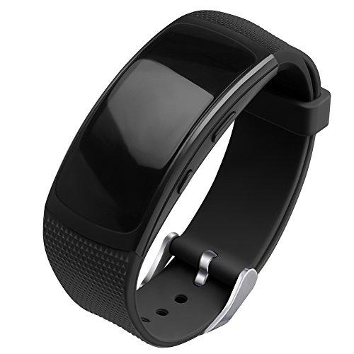 OenFoto kompatibel Gear Fit 2 Pro/Fit 2 Armband, Ersatz Silikon Zubehör Gurt für Samsung Gear Fit 2 Pro SM-R365 / Gear Fit2 SM-R360 Smartwatch -Schwarz
