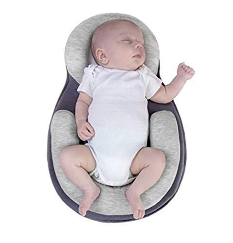 MSYR Coussin de positionnement Anti-Renversement, Appui de tête de Matelas de lit de bébé de bébé de stéréotypes de bébé Oreiller Infantile Nouveau-né portatif, âge 0-12 Mois Se plaçant (Gris)