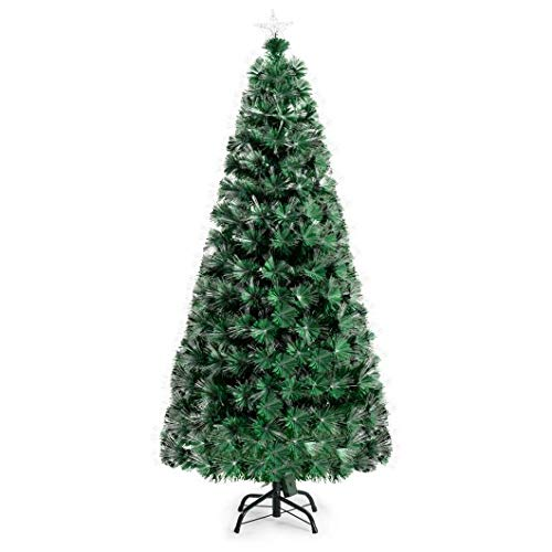 Homeura 6ft Christmas Tree Pre-Lit Fiber Double-Color Lights Optic Christmas Trees, Premium Spruce Artificial Holiday Christmas Trees for Home - Green