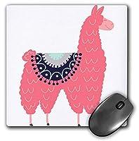 3dRose Fun Creative Fluffy Pink Llama Wearing a Saddle Blanket Mouse Pad (mp_280220_1) [並行輸入品]