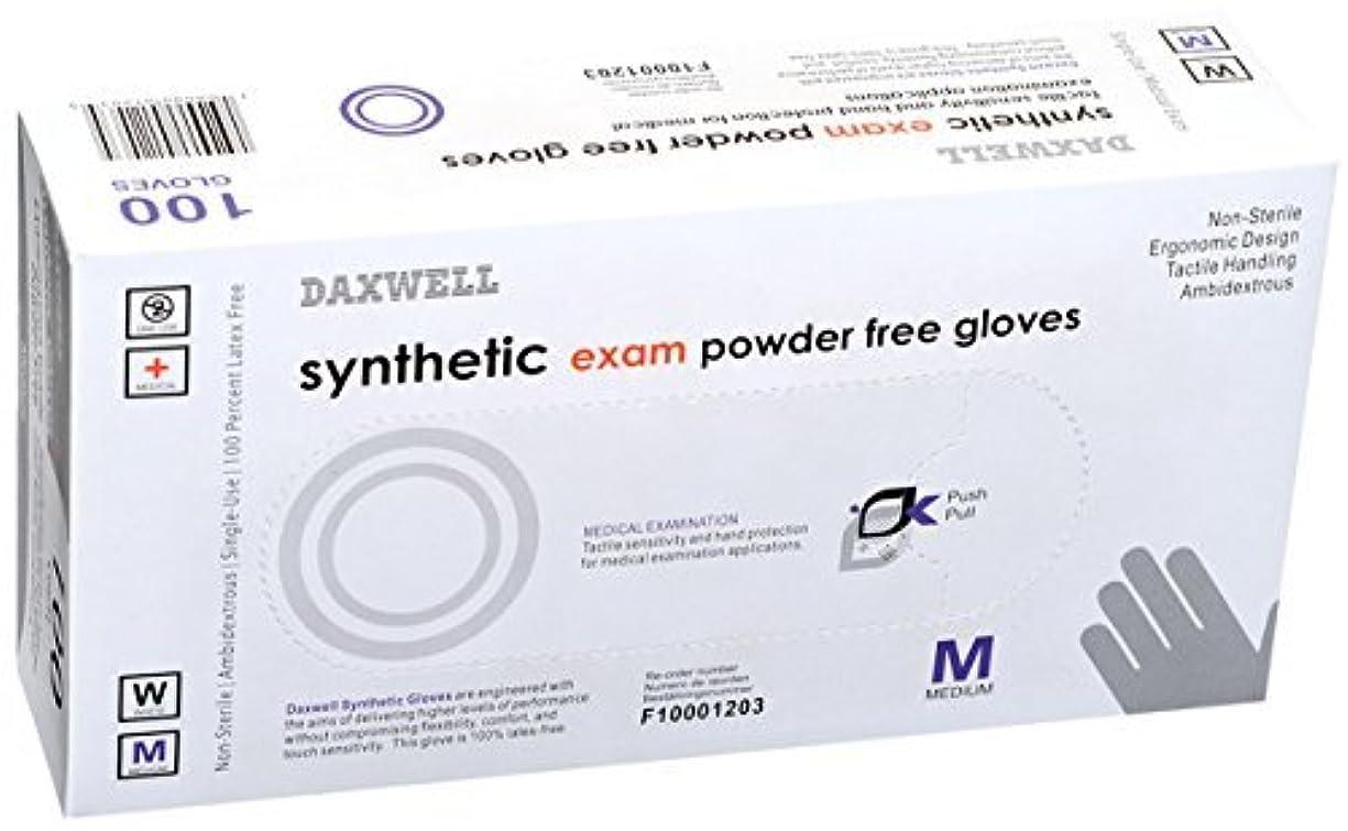 蜜想定人差し指Daxwell Synthetic Exam Gloves Powder Free Medium White (Box of 100 Gloves) [並行輸入品]
