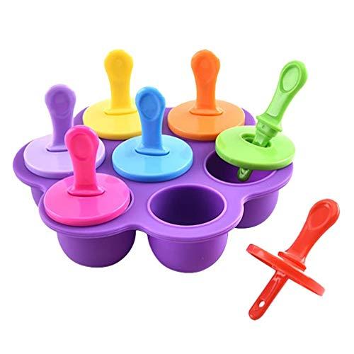 iplusmile Silikon Eis Am Stiel Formen Wiederverwendbare Mini 7-Kavitäten DIY Ice Pop Maker Aufbewahrungsbehälter Babynahrung Gefrierschalen Zufällige Farbe